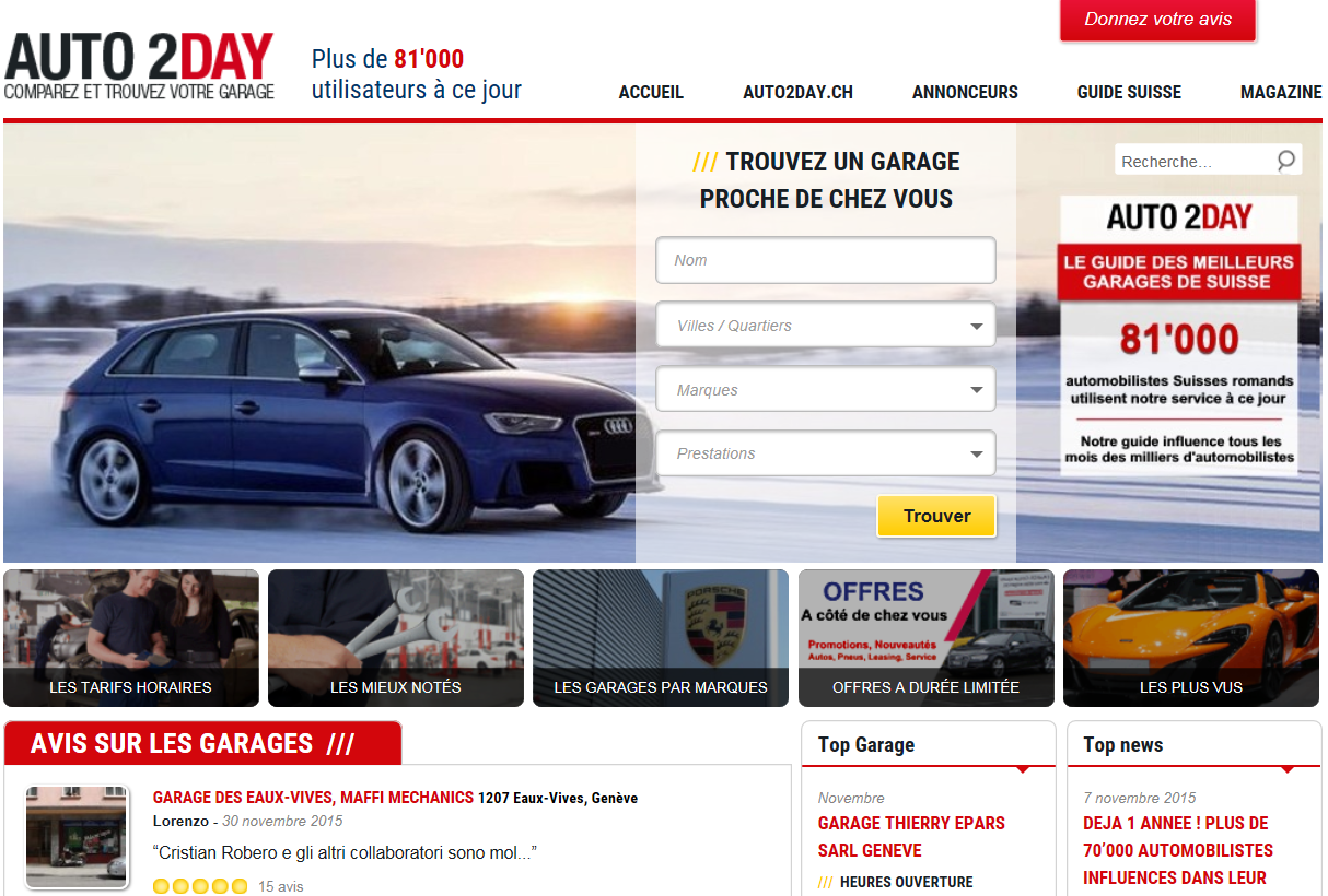 Les avis clients des garages en suisse romande auto2day for Client mystere garage automobile