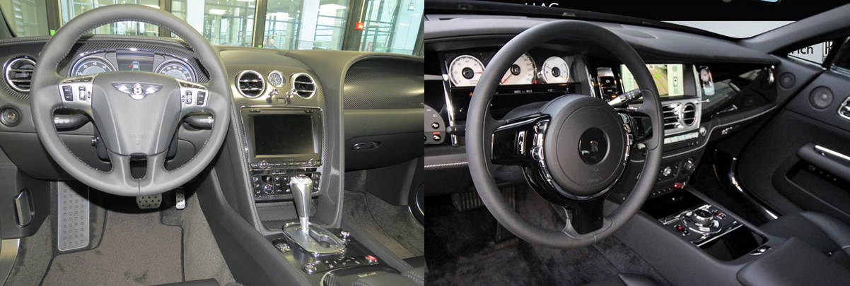 bentley continental gt vs rolls royce wraith interieur
