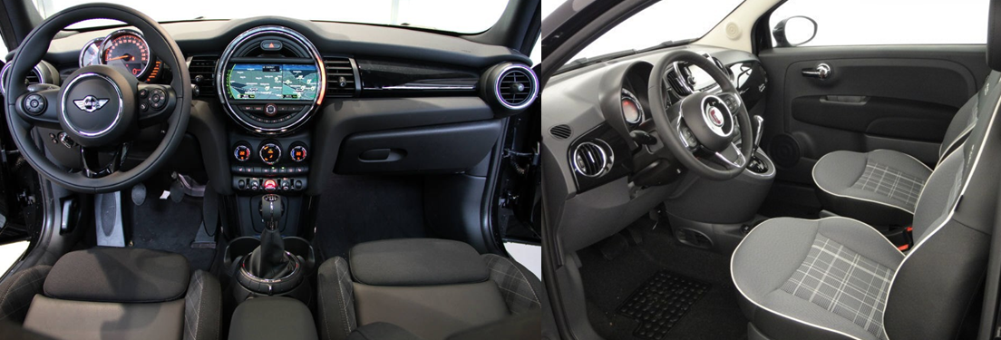 mini cooper s 2016 vs fiat 500 2016 interieur