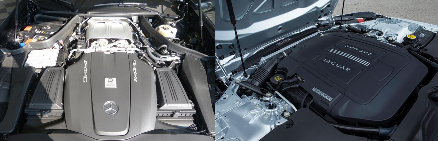 mercedes amg gt vs jaguar f type motorisation