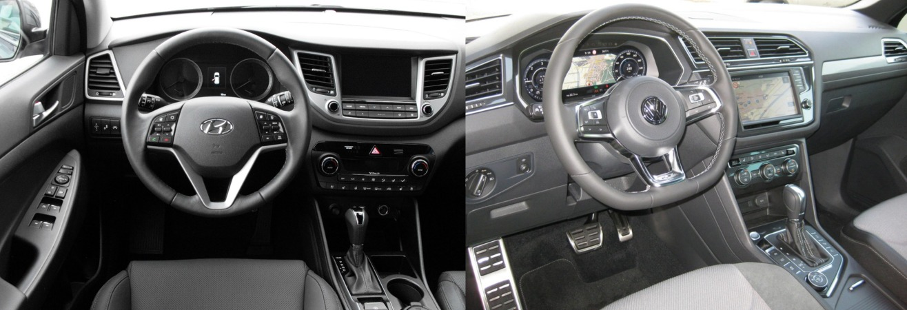 Vw tiguan vs hyundai tucson 2016 comparatif auto2day for Interieur tiguan 2017