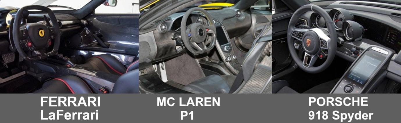 porsche 918 spyder vs ferrari laferrari vs mc laren p1 comparatif et avis interieur voiture