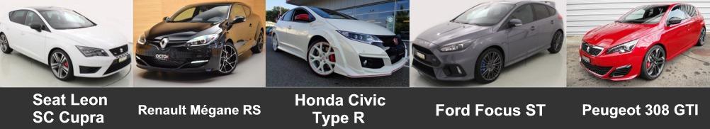 comparatif meilleure sportive compacte entre seat leon cupra vs renault megane rs vs honda civic type r vs ford focus st vs peugeot 308 gti 2017